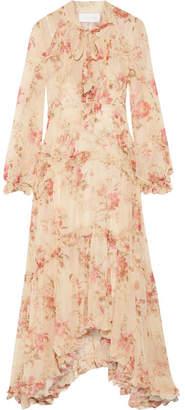 Zimmermann Corsair Ruffled Floral-print Silk-georgette Midi Dress - Pink