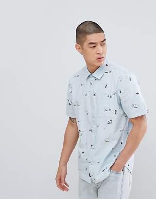 Vans Tres Palmas Short Sleeve Shirt In Blue VA3711PF7