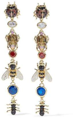 Noir 14-Karat Gold-Plated Crystal And Enamel Earrings