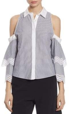 Jonathan Simkhai Cold-Shoulder Ruffle Sleeve Oxford Shirt