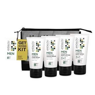 Andalou Naturals オーガニック ボタニカル トライアルキット 化粧水 洗顔料 ナチュラル フルーツ幹細胞 ヘンプ幹細胞 「 MEN ゲットゴーイングキット アンダルー ナチュラルズ