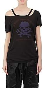 Taverniti So Ben Unravel Project Women's Skull Distressed Silk T-Shirt-Black