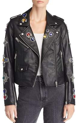 Blank NYC BLANKNYC Embellished Faux Leather Moto Jacket