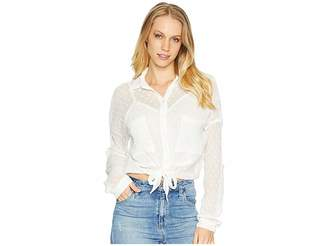 Angie Long Sleeve Lace Button Up Crop Top Women's Long Sleeve Button Up