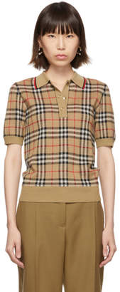 Burberry Beige Jacquard Check Chatterto Polo