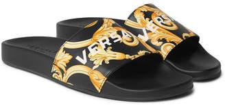 Versace Printed Leather Slides - Men - Black