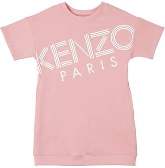 Kenzo Logo Printed Cotton Sweatshirt Dress
