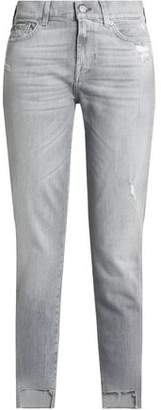 7 For All Mankind Roxanne Distressed Mid-Rise Straight-Leg Jeans