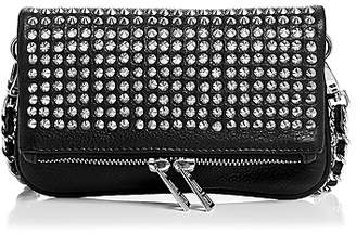 Zadig & Voltaire Rock Nano Spike Mini Leather Crossbody Clutch