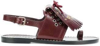 Burberry Kiltie Fringe Leather Sandals