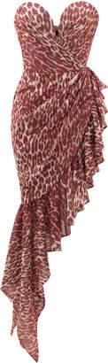 Rasario Asymmetric Leopard-Print Chiffon Mini Dress Size: 38