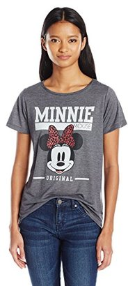 Disney Women's Juniors Minnie Mouse Polyester Rayon Blend High Low Drapey Graphic Tee $20.82 thestylecure.com