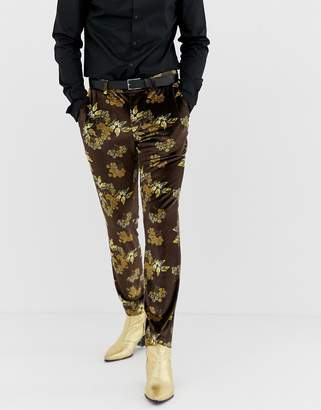 Asos Design DESIGN skinny suit pants in velvet with floral