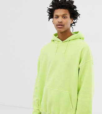 Reclaimed Vintage inspired oversized hoodie in lime overdye