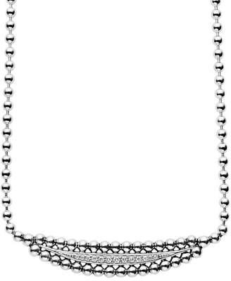 "Lagos Sterling Silver Caviar Spark Diamond Half Moon Necklace, 16"""