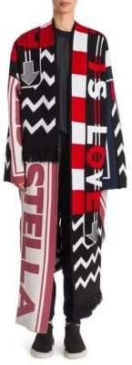 Stella McCartney Multi Logo Wool Blanket Coat