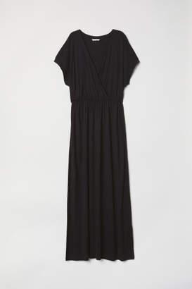 H&M Long Wrap-front Dress - Black
