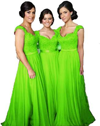 Fanciest Women' Cap Sleeve Lace Bridesmaid Dresses Long Wedding Party Gowns US18W