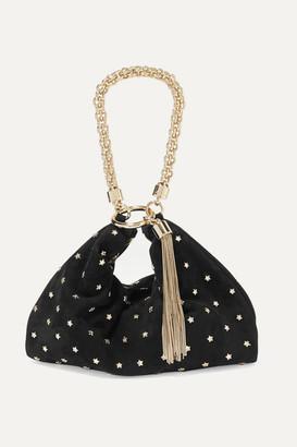 Jimmy Choo Callie Embellished Suede Shoulder Bag - Black