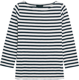J.Crew - Striped Cotton-jersey Top - Navy $40 thestylecure.com