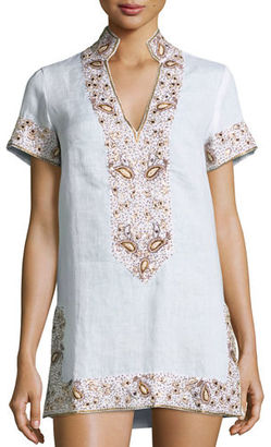 Flora Bella Viceroy Beaded Linen Short Coverup Tunic, White $425 thestylecure.com
