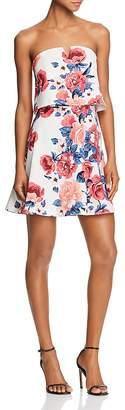 Aqua Floral Print Strapless Dress - 100% Exclusive