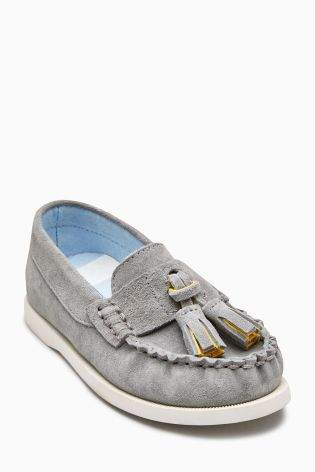 Boys Grey Water Resistant Suede Tassel Loafers (Younger Boys) - Grey