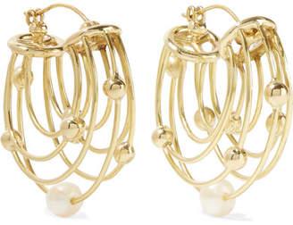 Ellery Classical Scaffolding Gold-plated Pearl Hoop Earrings