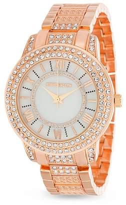 Steve Madden Women's White Double Row Jeweled Bezel & Band Watch, 38mm