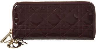 Christian Dior Lady Patent Zip Around Wallet