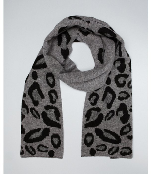 Laundry by Shelli Segal steel grey leopard print wool reversible scarf