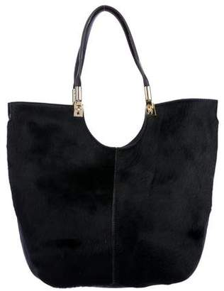 Elizabeth and James Leather-Trimmed Ponyhair satchel
