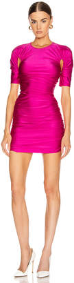 Thierry Mugler Cutout Ruched Mini Dress in Hot Pink | FWRD