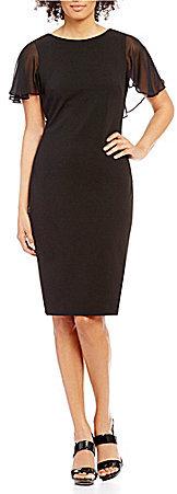Calvin KleinCalvin Klein Chiffon Flutter-Sleeve Sheath Dress