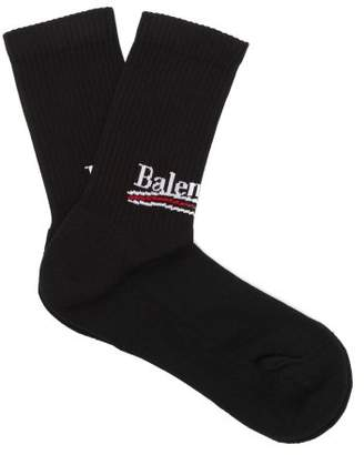 Balenciaga Logo Cotton Blend Socks - Womens - Black
