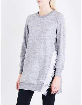 Izzue Feather-trim cotton-blend tunic