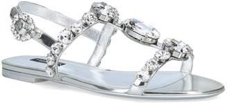 Dolce & Gabbana Leather Metallic Embellished Bianca Sandals