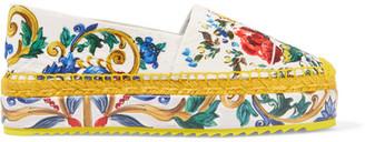 Dolce & Gabbana - Printed Brocade Platform Espadrilles - Yellow $575 thestylecure.com