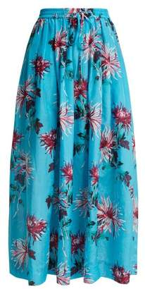Diane von Furstenberg Floral Print Cotton Blend Skirt - Womens - Blue Multi