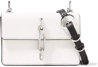 Alexander Wang Hook Two-tone Smooth And Textured-leather Shoulder Bag - White