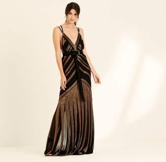 Amanda Wakeley Bronze & Black Liquid Beading Long Dress