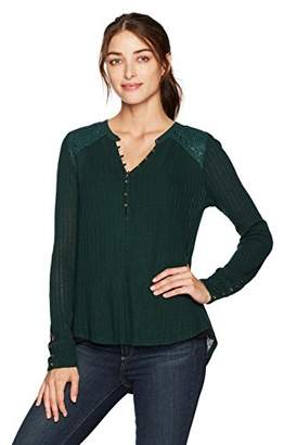 Lucky Brand Women's Embroidered Mix Henley Top