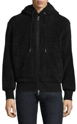 Moncler Hooded Faux Shearling Jacket