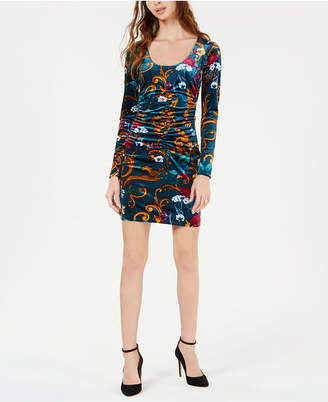 GUESS Kae Printed Velvet Ruched Dress