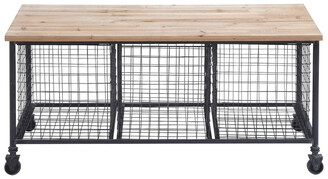 UMA Enterprises Uma Enterprises Metal And Wood Bench With 3 Baskets