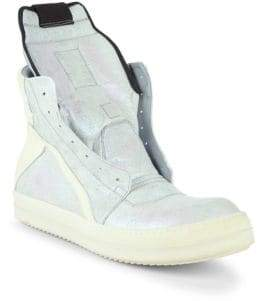Rick Owens Colorblock Leather High-Top Sneakers