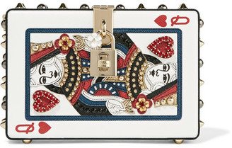 Dolce Box Embellished Printed Textured-leather Clutch - White