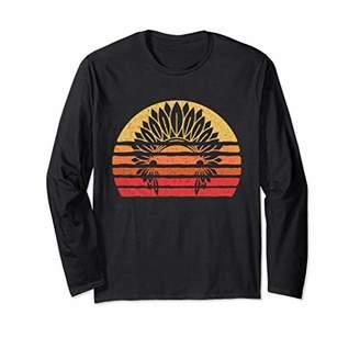 Native American Headdress Sunset Silhouette Long Sleeve Tee