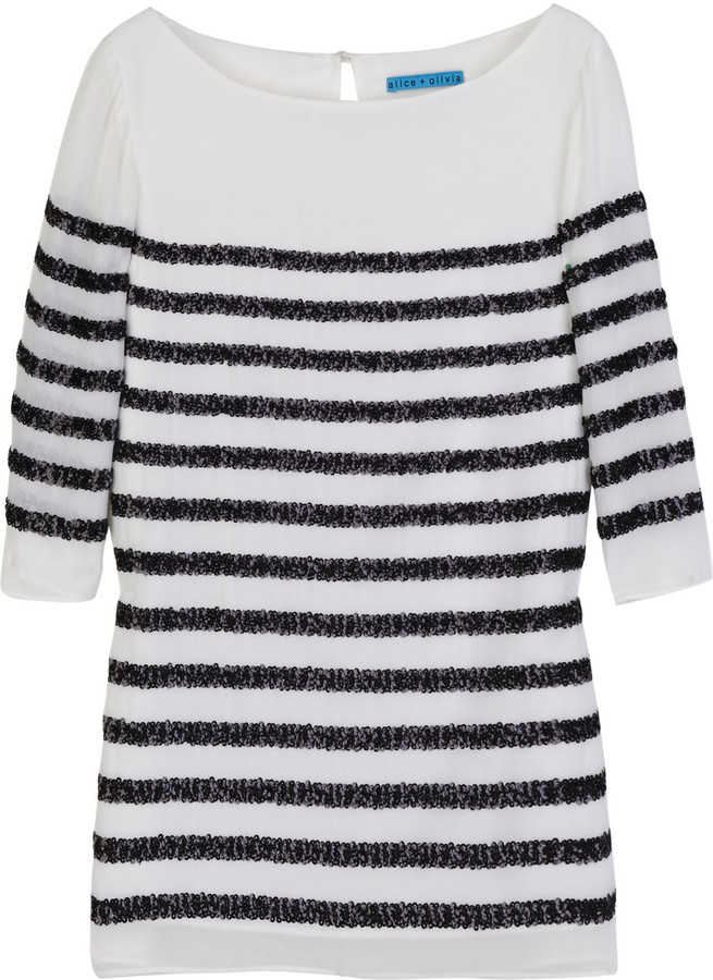 Alice + Olivia Sequined silk-chiffon top
