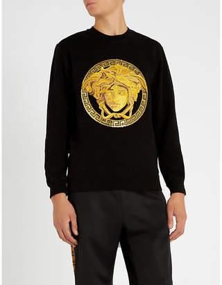 Versace Medusa-embroidered stretch-cotton sweatshirt